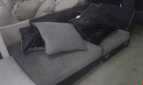 Lot 100 DESIGNER GREY FABRIC SOFA SECTION WITH CUSHIONS