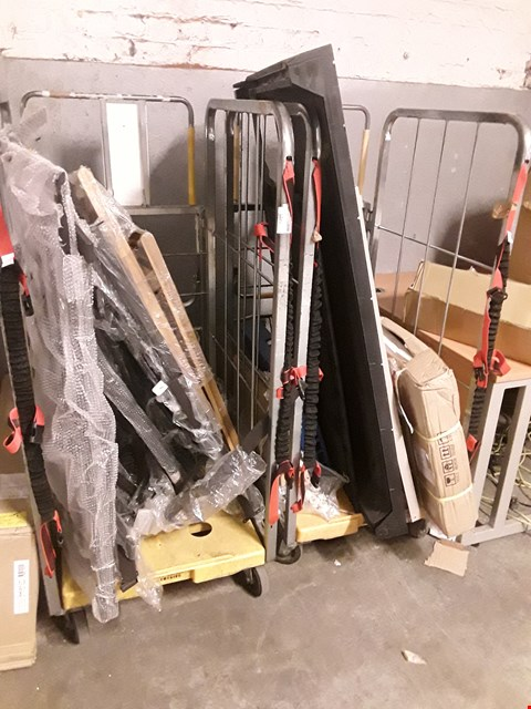 Lot 1072 TWO CAGES OF ASSORTED GARDEN STORAGE PARTS, FOLDING CHAIR, (CAGES NOT INCLUDED)