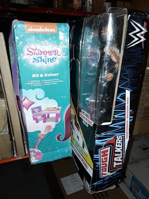 Lot 183 LOT OF 3 ITEMS TO INCLUDE WWE TOUGH TALKERS AND SHIMMER SHINE SIT & COLOUR TABLE  RRP £148.99