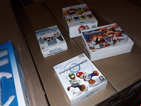 Lot 9073 5 NINTENDO WII PRODUCTS TO INCLUDE, MARIO KART AND WE SING ETC