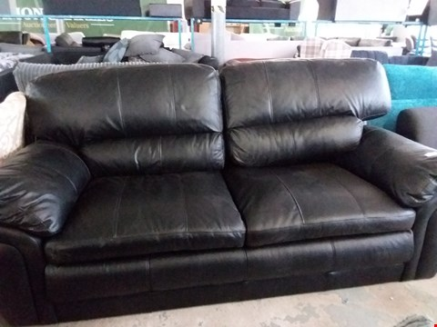 Lot 33 DESIGNER 2 SEATER BLACK FAUX LEATHER SOFA