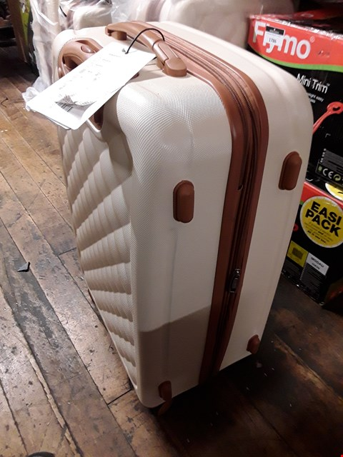 Lot 1788 GRADE 1 FASHIONISTA 8 WHEEL HARD SHELL SINGLE EXPANDER  TROLLEY MEDIUM CASE IN CREAM RRP £74.99