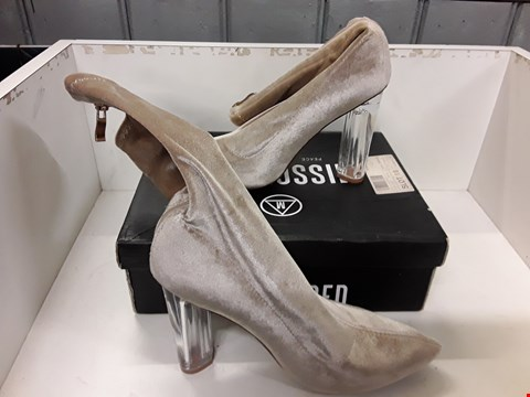 Lot 4020 PAIR OF DESIGNER LADIES ZIP SIDE, CLEAR HEELED CALF BOOTS IN THE STYLE OF MISSGUIDED SIZE UK 5