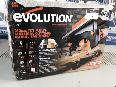 Lot 76 BOXED EVOLUTION 210mm MULTI MATERIAL VUTTING MITRE TABLE SAW RRP £108.00