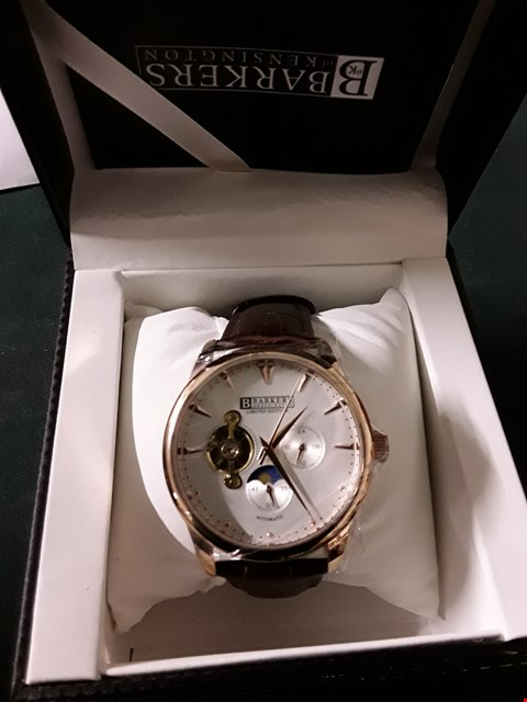 Lot 389 BOXED  BARKERS OF KENSINGTON  AUTOMATIC ROSE GOLD BROWN LEATHER STRAP MEN'S WRIST WATCH