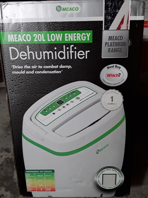 Lot 3258 MEACO 20L LOW ENERGY DEHUMIDIFIER
