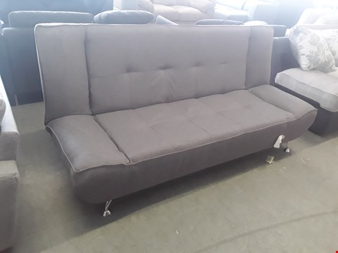 Lot 23 DESIGNER GREY FABRIC CLIICK-CLACK STYLE SOFA BED