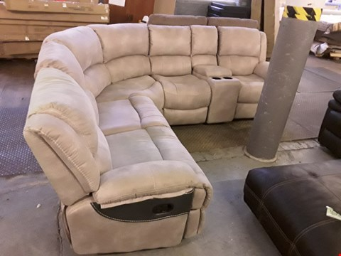 Lot 9 DESIGNER MADRID BEIGE NAPPA AIR FABRIC LARGE MANUAL RECLINING CORNER GROUP WITH TE UNIT RRP £1300