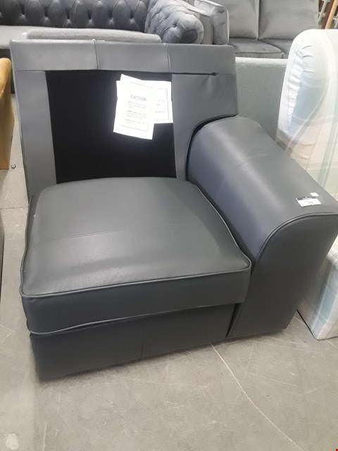 Lot 28 STAMFORD GREY LEATHER MANUAL RECLINING SOFA SECTION