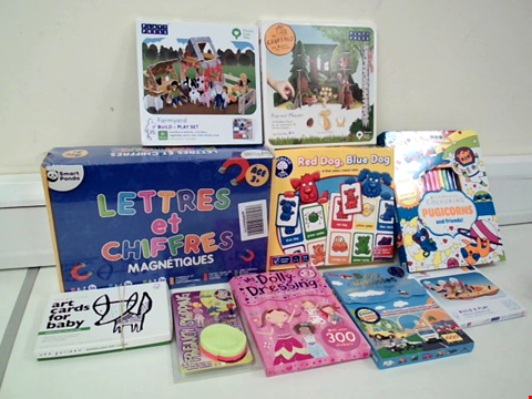 Lot 8029 LOT OF 10 ASSORTED TOYS TO INCLUDE FARMYARD BUILD + PLAY SET, MY DOLLY DRESSING STICKER AND ACTIVITY PACK AND RED DOG, BLUE DOG COLOUR MATCH LOTTO