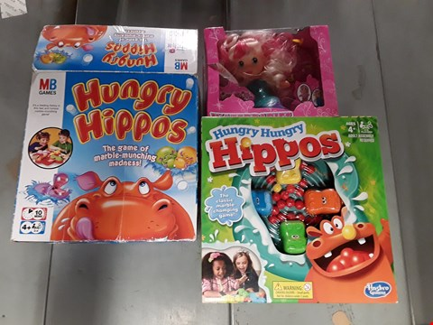 Lot 766 LOT OF 3 ASSORTED ITEMS TO INCLUDE 2 HUNGRY HIPPO GAMES AND WATER BABIES MERMAID TOY