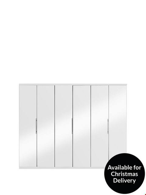 Lot 7076 BOXED PRAGUE WHITE 6-DOOR WARDROBE (3 OF 4 BOXES ONLY) RRP £549.99