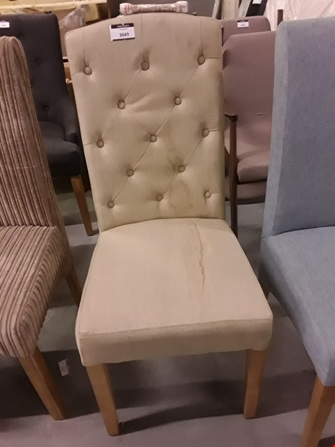 Lot 2032 UPHOLSTERED BUTTON BACK DINING CHAIR - SAND