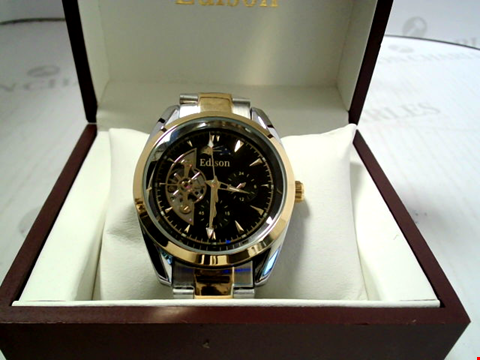 Lot 7173 DESIGNER EDISON AUTOMATIC MOONPHASE WATCH, STAINLESS STRAP RRP £600.00