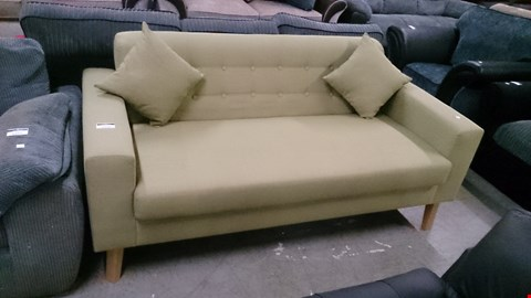 Lot 1226 DESIGNER GREEN FABRIC BUTTON BACK 3 SEATER SOFA