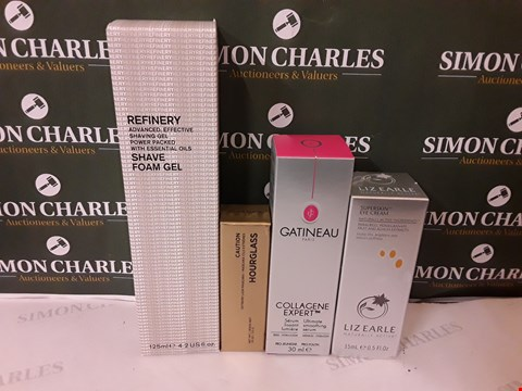 Lot 72 LOT OF 4 ASSORTED COSMETIC ITEMS TO INCLUDE REFINERY SHAVE FOAM GEL, GATINEAU ULTIMATE SMOOTHING SERUM, LIZ EARLE ETE CREAM ETC