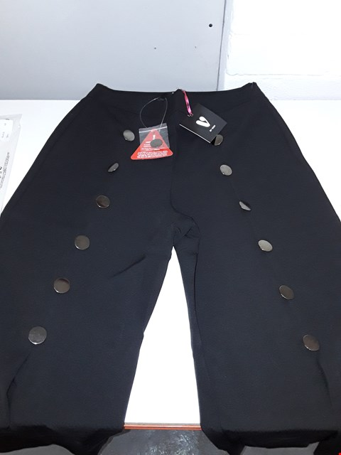 Lot 5385 BAGGED BRAND NEW BY VERY FLARED BUTTON TROUSERS SIZE 12 IN BLACK