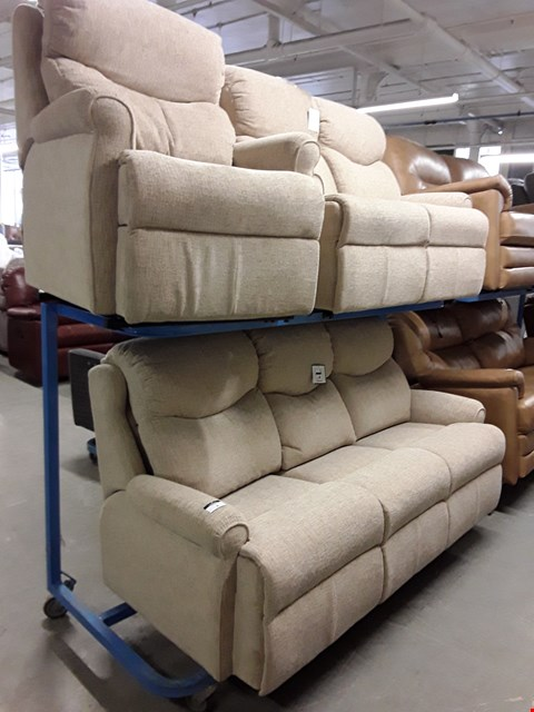 Lot 1008 QUALITY BRITISH MADE, HARDWOOD FRAMED BEIGE WEAVE FABRIC 3 SEATER SOFA, 2 SEATER SOFA AND ARMCHAIR