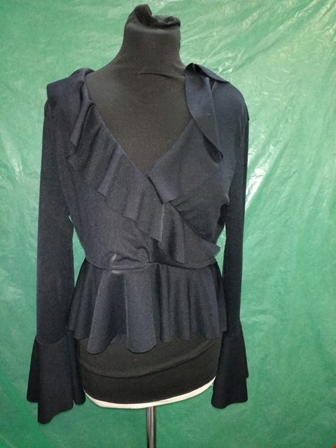 Lot 4128 I SAW IT FIRST BLACK CREPE FRILL BLOUSE - SIZE 12