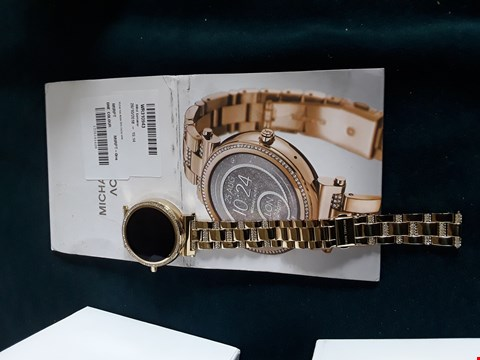 Lot 68 BOXED MICHAEL KORS ACCESS SOFIE ROSE GOLD PAVE STAINLESS STEEL DISPLAY SMARTWATCH RRP £529