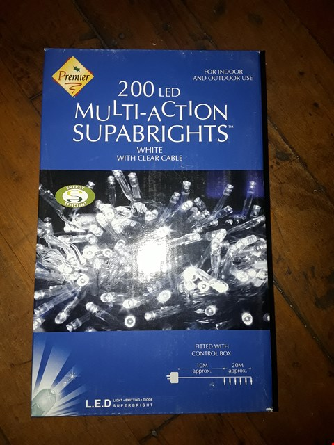 Lot 6122 BOXED SET OF 200 LED MULTI ACTION SUPABRIGHT WHITE LIGHTS WITH CLEAR CABLE