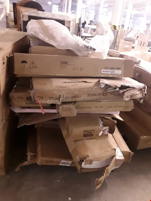 Lot 2048 PALLET OF ASSORTED FLAT PACK FURNITURE PARTS TO INCLUDE BED PARTS ETC