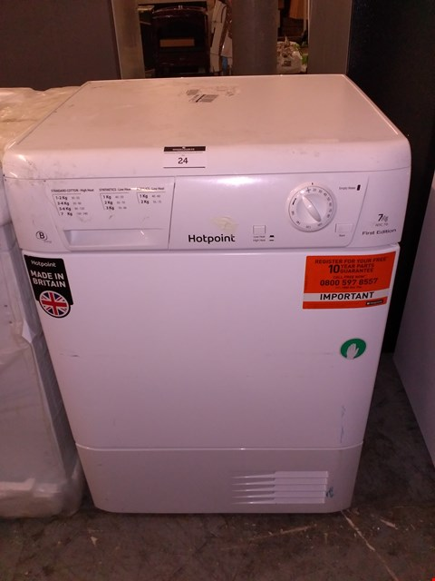 Lot 24 HOTPOINT FETC79BP AQUARIUS 7KG CONDENSER DRYER