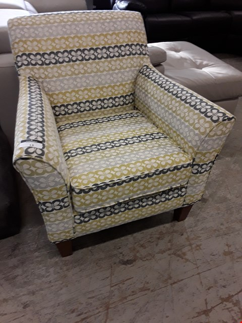Lot 13 DESIGNER YELLOW/GREY FABRIC EASY CHAIR