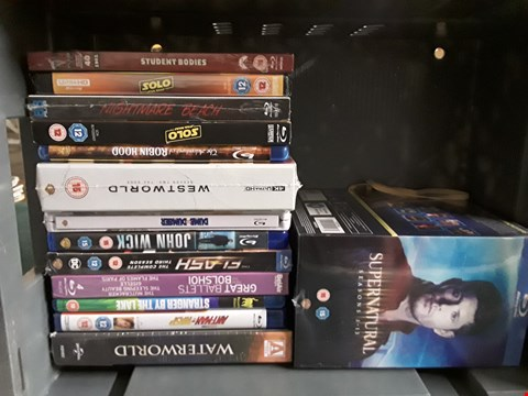 Lot 39 BOX OF APPROXIMATELY 14 ASSORTED BLU-RAYS TO INCLUDE WESTWORLD, SOLO, JOHN WICK ETC