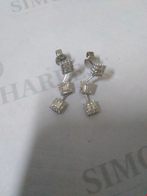 Lot 42 18CT WHITE GOLD DROP EARRINGS SET WITH DIAMONDS WEIGHING +1.04CT RRP £2965.00
