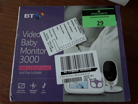 Lot 29 BT VIDEO BABY MONITOR 3000 RRP £100