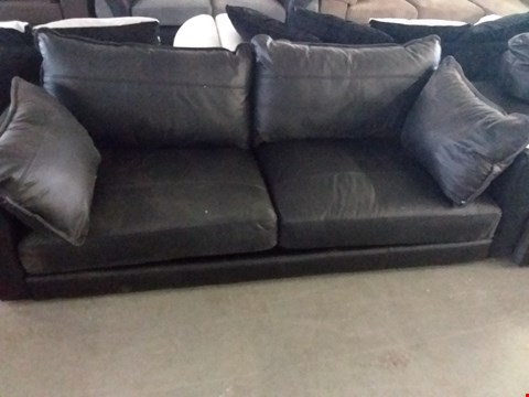 Lot 38 DESIGNER BLACK LEATHER 2 SEATER SOFA WITH BOLSTER CUSHIONS