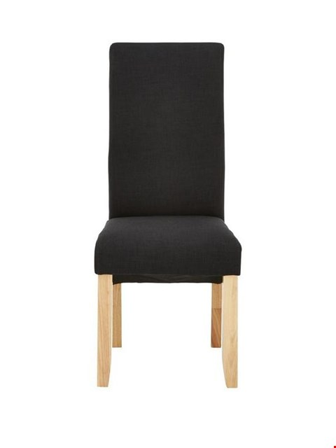 Lot 46 BOXED PAIR OF DESIGNER CHATHAM BLACK FABRIC AND OAK-EFFECT DINING CHAIRS (1 BOX) RRP £149