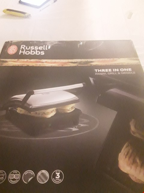 Lot 2063 RUSSELL HOBBS 3 IN 1 PANINI, GRILL & GRIDDLE