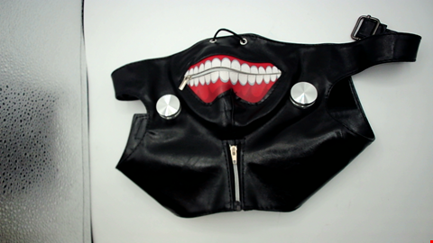 Lot 1054 BLACK FAUX LEATHER BONDAGE MASK WITH ZIPPABLE MOUTH-DETAIL AND BOLTS