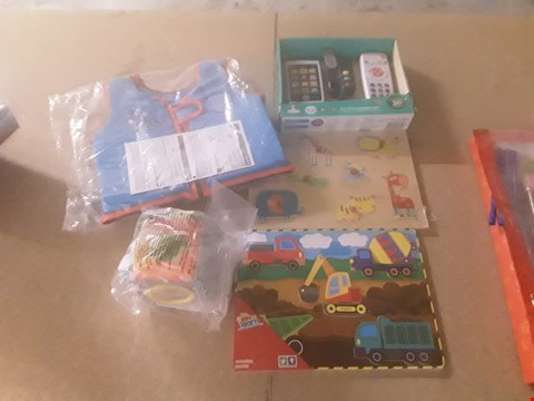 Lot 317 5 ASSORTED CHILDREN'S PRODUCTS TO INCLUDE; PLAY AND LEARN WOODEN PUZZLE, EASIER DEVELOPMENT CUBE, SEA SQUAD VEST AND ELC MY FIRST GADGET SET