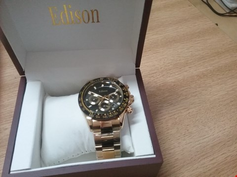 Lot 8225 BRAND NEW BOXED MEN'S EDISON AUTOMATIC WATCH, GOLD COLOUR STAINLESS STEEL STRAP, BLACK DIAL, CHRONOGRAPH MOVEMENT.