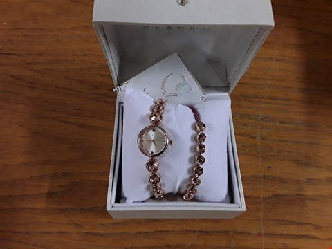 Lot 8306 BOXED AURORA ROSE GOLD DOUBLE STRAP WRISTWATCH