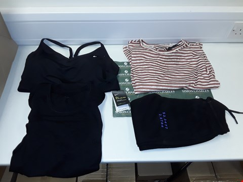 Lot 3337 LOT OF 4 CLOTHING ITEMS TO INCLUDE NIKE INDY PLUS SIZE BRA, BOSS BODYWEAR TSHIRT, V BY VERY BOYS TRACK BOTTOMS, V BY VERY TWIST BACK LINEN T-SHIRT