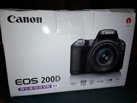 Lot 87 CANON EOS 200D SLR CAMERA IN BLACK WITH 18-55MM IS STM BLACK LENS 24.2MP 3.0LCD FHD RRP £719.00