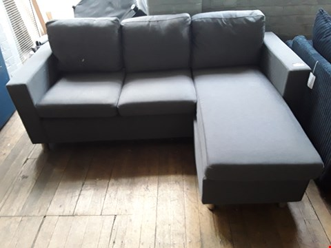 Lot 44 DESIGNER ZARA GREY FABRIC REVERSABLE CHAISE SOFA