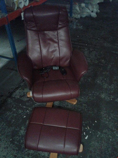 Lot 767 MONACO SWIVEL RECLINER CHAIR AND STOOL IN MAROON