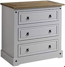Lot 3054 BOXED DESIGNER CORONA 3 DRAWER CHEST IN GREY