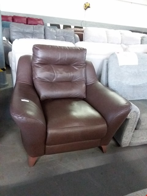 Lot 28 QUALITY BRITISH MADE HARDWOOD FRAMED BROWN LEATHER ELECTRIC RECLINING ARM CHAIR