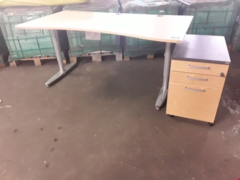 Lot 2077 TWO PIECES OF KINNARPS OFFICE FURNITURE, COMPRISING, SHAPED FRONT TABLE & 3 DRAWER CABINET.