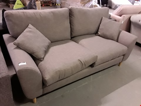 Lot 2039 DESIGNER GREY FABRIC THREE SEATER SOFA