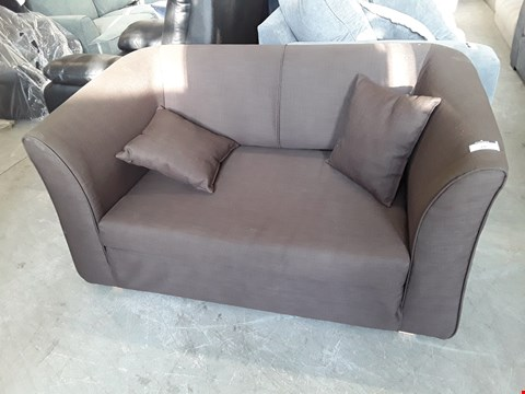 Lot 18 DESIGNER BROWN FABRIC TWO SEATER SOFA