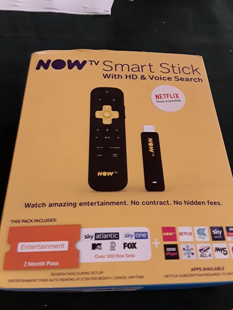 Lot 18015 NOW TV SMART STICK WITH HD & VOICE SESRCH RRP £24.99
