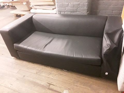 Lot 2090 DESIGNER BLAVK FAUX LEATHER THREE SEATER MINIMALISTIC SOFA