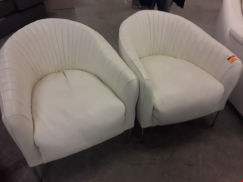 Lot 202 QUALITY ITALIAN DESIGNER CREAM LEATHER PAIR OF CHAIRS